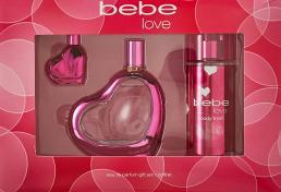 BEBE LOVE 3 PCS SET: 3.4 EAU DE PARFUM SPRAY + 0.33 EAU DE PARFUM + 8.4 BODY MIST