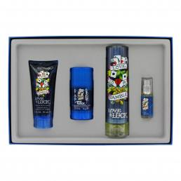 ED HARDY LOVE & LUCK 4 PCS SET FOR MEN: 3.4 EDT SP + 2.75 DEOD STCK + 3 OZ S/G + 1/4 OZ EDT SP