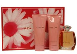 REALITIES 3 PCS GIFT SET FOR WOMEN: 3.4 EDP SP + 6.7 OZ SHOWER GEL + 6.7 OZ BODY LOTION