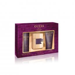GUESS GOLD 3 PCS SET FOR MEN: 2.5 EAU DE TOILETTE SPRAY + 6.7 SHOWER GEL + 6 OZ DEODORIZING BODY SPRAY (WINDOW BOX)