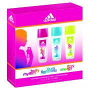 ADIDAS 3 PCS SET FOR WOMEN: 2.5 OZ BODY SPRAY FRUITY RHYTHM, PURE LIGHTNESS, FIZZY ENERGY