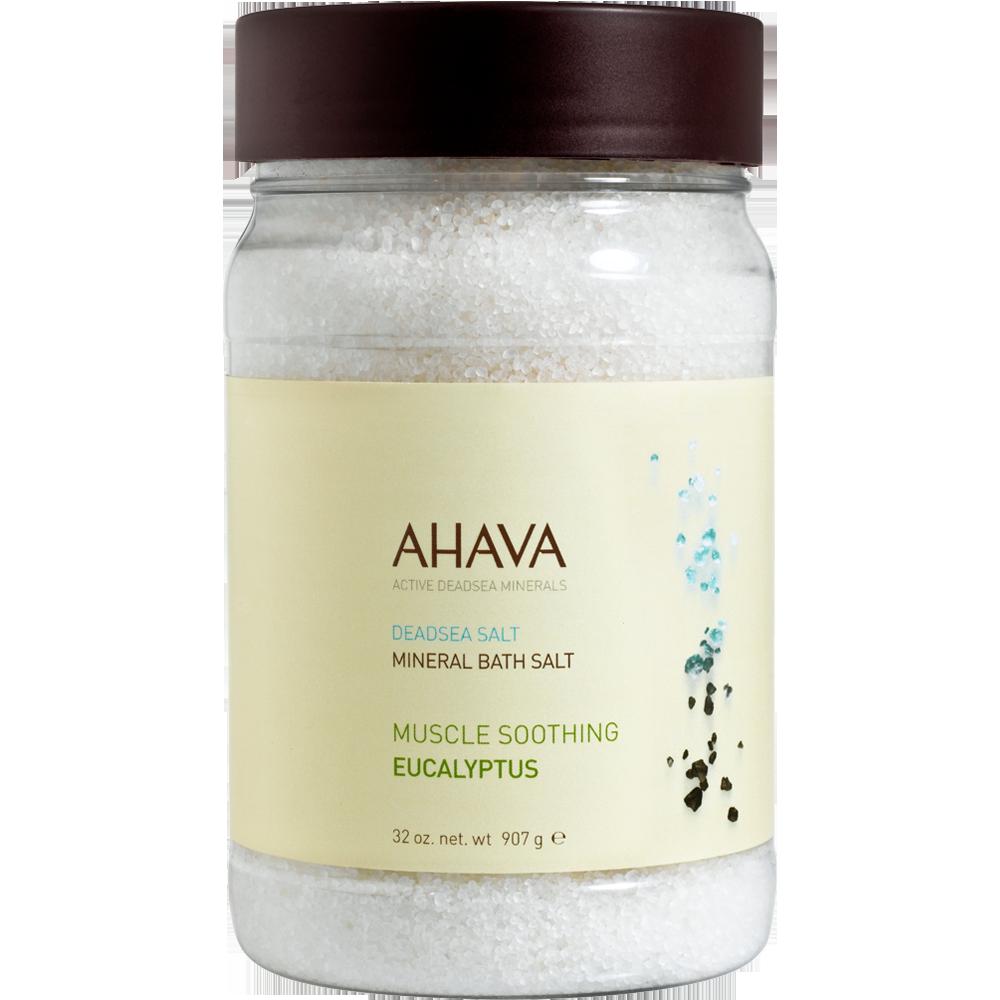 AHAVA DEADSEA SALT MINERAL BATH SALT MUSCLE SOOTHING EUCALYPTUS 32 OZ
