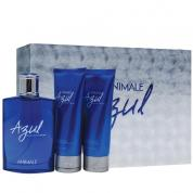 ANIMALE AZUL 3 PCS SET FOR MEN: 3.4 EDT SP + 3.4 OZ AFTER SHAVE BALM + 3.4 OZ HAIR & BODY WASH