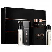 BVLGARI MAN IN BLACK 4 PCS SET: 3.4 EDP SP + 3 X 15 ML EDP REFILLABLE TRAVEL SP