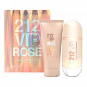 212 VIP ROSE 2 PCS SET FOR WOMEN: 2.7 EAU DE PARFUM SPRAY + 3.4 BODY LOTION (HARD BOX)