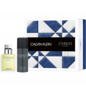 ETERNITY 2 PCS SET FOR MEN: 3.4 EAU DE TOILETTE SPRAY + 5 OZ DEODORANT SPRAY (HARD BOX)