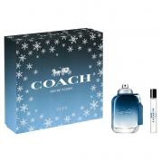 COACH BLUE 2 PCS SET FOR MEN: 2 OZ EAU DE TOILETTE SPRAY + 0.25 EAU DE TOILETTE SPRAY (HARD BOX)