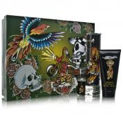 ED HARDY 4 PCS SET FOR MEN: 3.4 EDT SP + 3OZ S/G + 1/4 OZ EDT SP + TIGER KEY CHAIN