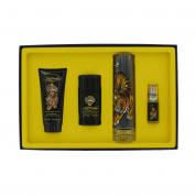 ED HARDY 4 PCS SET FOR MEN: 3.4 EDT SP + 3 OZ S/G + 1/4 OZ EDT SP + 2.75 DEOD STCK