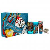 ED HARDY HEARTS & DAGGERS 5 PCS SET FOR MEN: 3.4 EDT SP + 1/4 OZ EDT SP + 3 OZ HAIR & BODY WASH + 2.75 OZ DEODORANT + KEY CHAIN