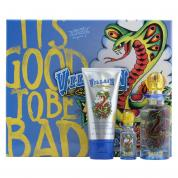 ED HARDY VILLAIN 3 PCS SET FOR MEN: 2.5 EDT SP + 1/4 OZ EDT SP + 3 OZ S/G