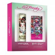 ED HARDY 2 PCS SET FOR WOMEN: LOVE & LUCK + HEARTS & DAGGERS (WINDOW BOX)