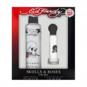 ED HARDY SKULLS & ROSES2 PCS SET FOR MEN: 1 OZ EAU DE TOILETTE SPRAY + 6 OZ BODY SPRAY (WINDOW BOX)