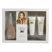 J LO GLOW 3 PCS SET: 3.4 EAU DE TOILETTE SPRAY + 2.5 BODY LOTION + 2.5 SHOWER GEL