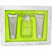 KENNETH COLE REACTION 3 PCS SET FOR MEN: 3.4 EDT SP + 3.4 AFTERSHAVE GEL + 6.7 SHOWER GEL