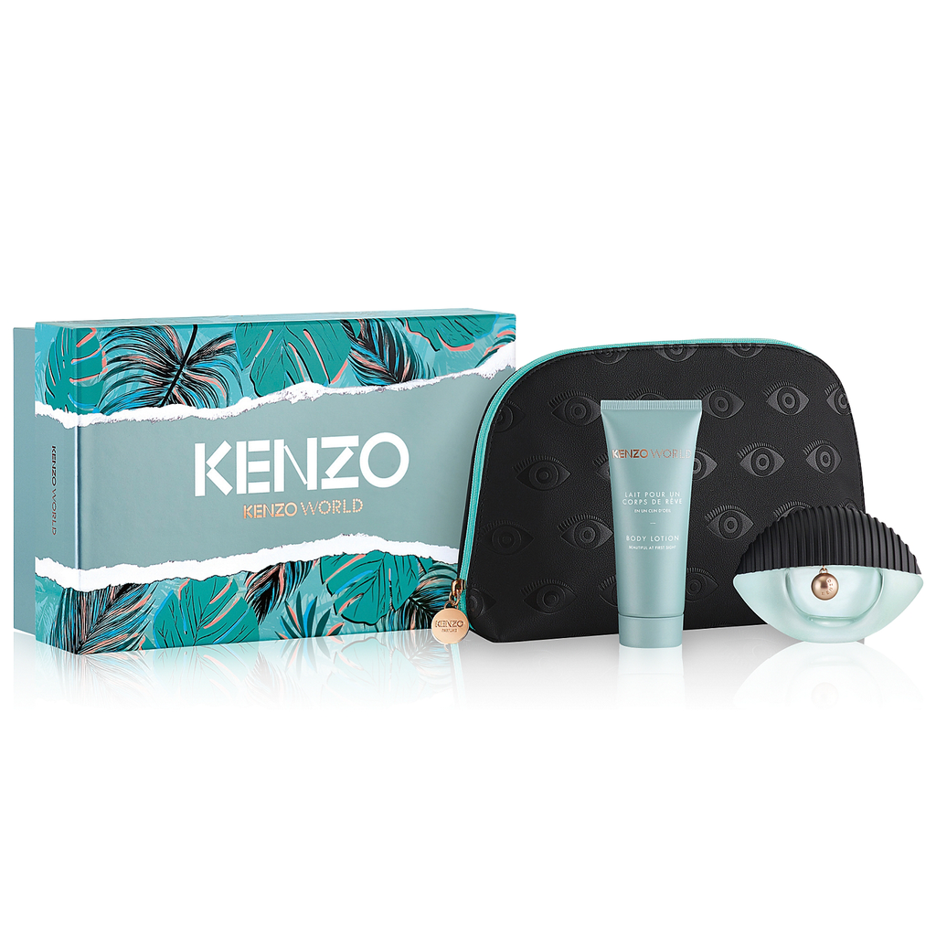 KENZO WORLD 3 PCS SET FOR WOMEN: 2.5 EAU DE TOILETTE SPRAY + 2.5 BODY MILK + POUCH