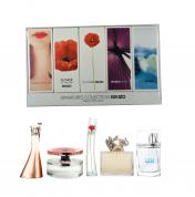 KENZO 5 PCS MINI SET FOR WOMEN: JEU D'AMOUR 4 ML EDP + FLOWER IN TH AIR 4 ML EDP + FLOWER 4 ML EDP + JUNGLE 5 ML EDP + L'EAUKENZO POUR FEMME 5 ML EDT