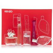 KENZO 5 PCS MINI SET FOR WOMEN: FLOWER 4 ML EDP + AMOUR 4 ML EDP + FLOWER TAG 4 ML EDT + L'EAU PAR 5 ML EDT + MADLY 4 ML EDT