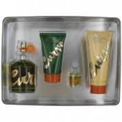 CURVE 4 PCS SET FOR MEN: 4.2 COLOGNE SPRAY + 0.25 OZ COLOGNE + 3.4 AFTER SHAVE BALM + 3.4 SHOWER GEL (METAL BOX)