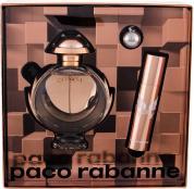 PACO OLYMPEA 3 PCS SET: 1.7 EAU DE PARFUM SPRAY + 0.33 OZ EAU DE PARFUM + KEYCHAIN