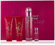 360 PINK 4 PCS SET FOR WOMEN: 3.4 EAU DE PARFUM SPRAY + 3 OZ BODY LOTION + 3 OZ SHOWER GEL + 0.25 OZ EAU DE PARFUM SPRAY (HARD BOX)