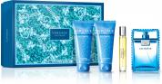 VERSACE EAU FRAICHE 4 PCS SET: 3.4 EDT SP + 3.4 AFTERSHAVE BALM + 3.4 SHOWER GEL + 10 ML EDT SP