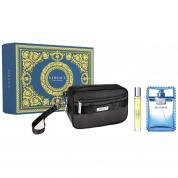VERSACE EAU FRAICHE 3 PCS SET FOR MEN: 3.4 EAU DE TOILETTE SPRAY + 0.33 OZ EAU DE TOILETTE + POUCH