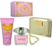 VERSACE BRIGHT CRYSTAL 3 PCS SET: 3 OZ EDT SP + 3.4 B/L + DESIGNER PURSE