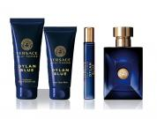 VERSACE DYLAN BLUE 4 PCS SET FOR MEN: 3.4 EDT SP + 3.4 SHOWER GEL + 3.4 AFTER SHAVE BALM + 0.3 OZ EDT SP