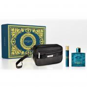 VERSACE EROS 3 PCS SET FOR MEN: 3.4 EAU DE TOILETTE SPRAY + 10 ML EAU DE TOILETTE TRAVEL SPRAY + TROUSSE (PICTURE BOX)