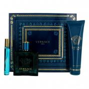 VERSACE EROS 3 PCS SET FOR MEN: 3.4  EAU DE TOILETTE SPRAY + 0.3 OZ EAU DE TOILETTE SPRAY + 5 OZ SHOWER GEL
