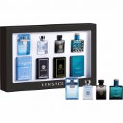 VERSACE 4 PCS MINI SET FOR MEN: EROS 0.17 OZ EDT + OUD NOIR 0.17 OZ EDP + POUR HOMME 0.17 OZ EDT + EAU FRAICHE 0.17 OZ EDT